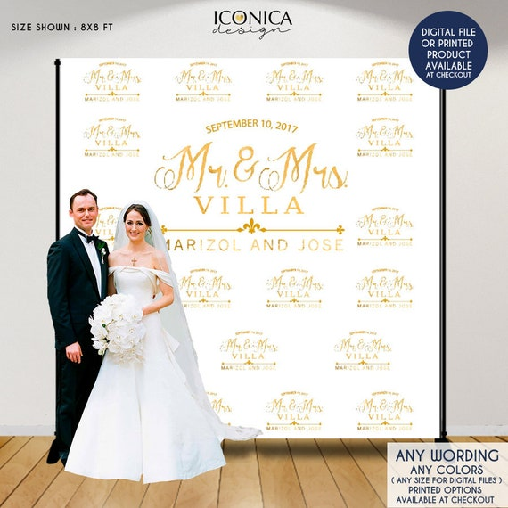 Wedding Photo Booth Backdrop Custom Step And Repeat Backdrop Engagement Party Banner Wedding Backdrop Printed Or Digital File Bwd0025 By Iconica Design Catch My Party
