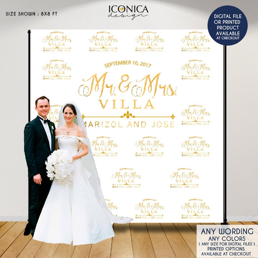 Wedding Photo Booth Backdrop Custom Step And Repeat Engagement Party Banner Printed Or Digital File BWD0025