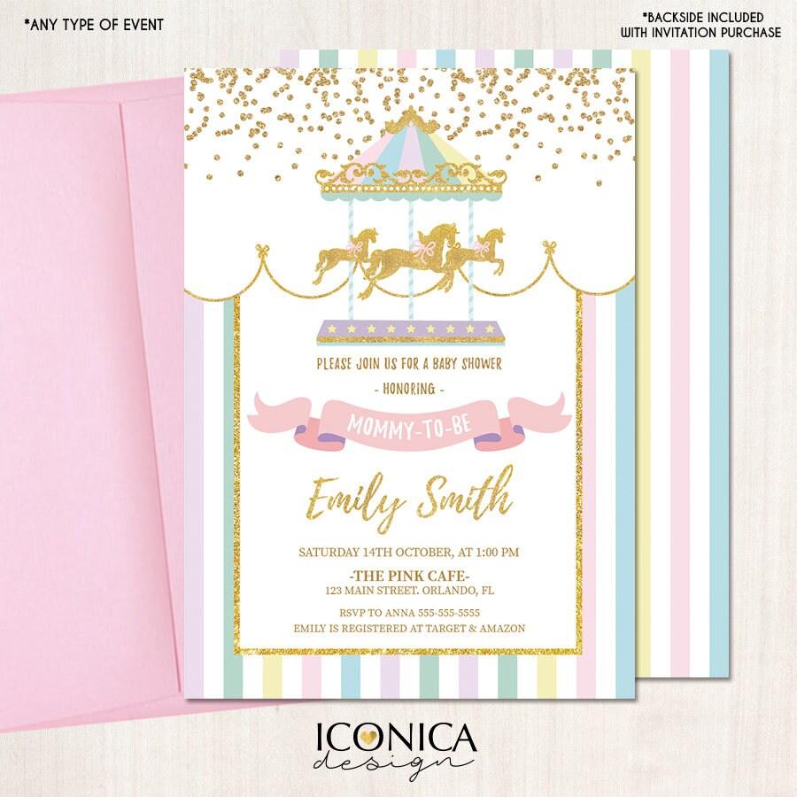 Carousel Baby Shower Invitation, Carousel Invite, Circus Girl ...