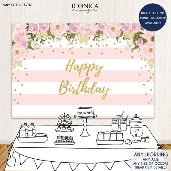 Floral First Birthday Party Backdrop Gold And Pink Dessert