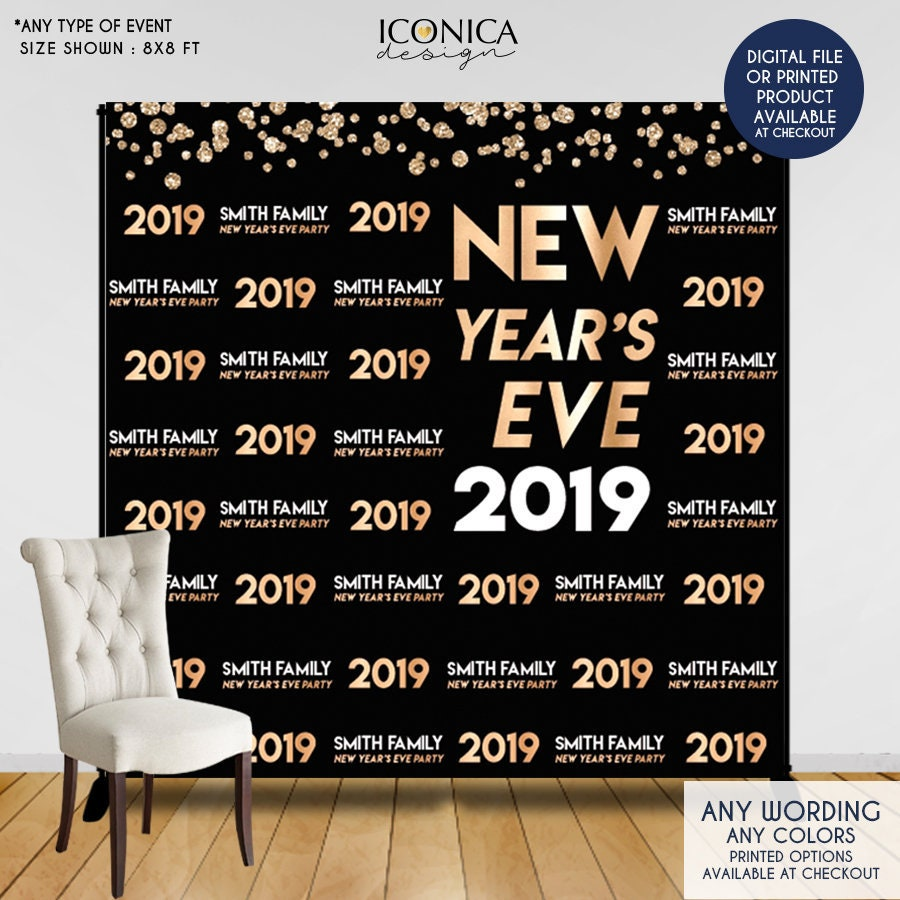 nye party new years eve party photo booth backdrop black and faux gold backdrop any type of event printed or printable file bho0037