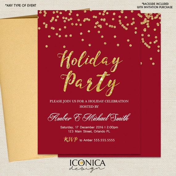 Christmas Cards Holiday Party Invitations Elegant Dark Red And