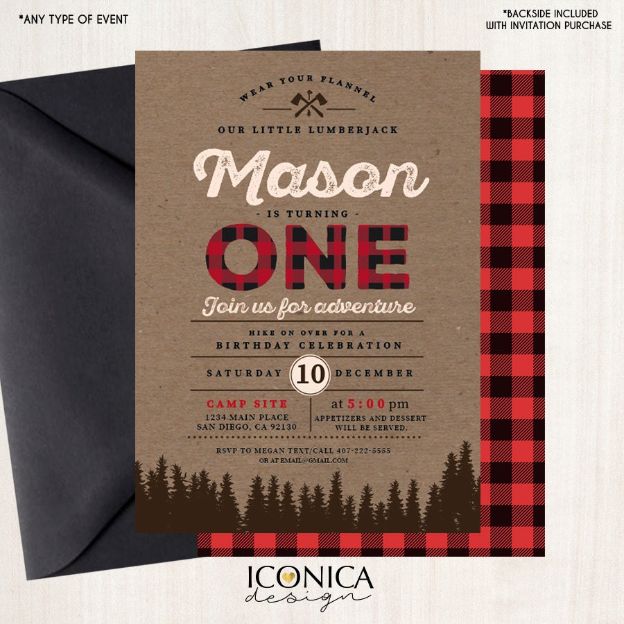 Lumberjack First Birthday Invitations,Personalized Buffalo Plaid ...
