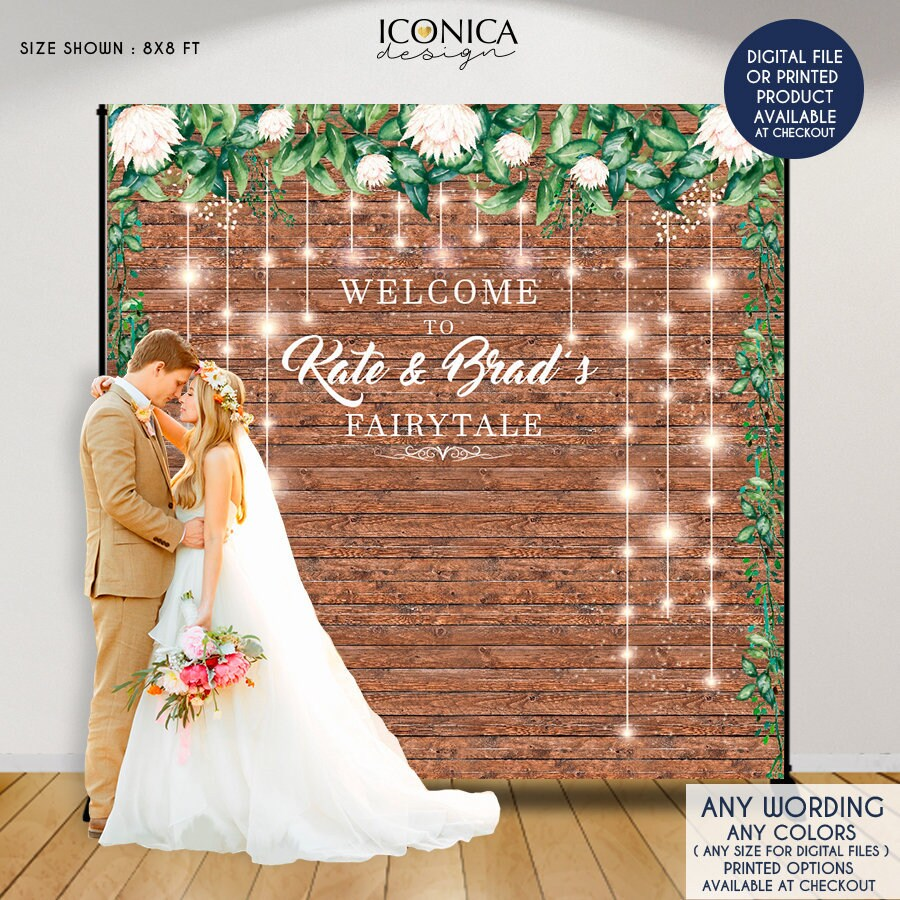 Rustic Wedding Backdrop Floral Step And Repeat Engagement Party Decor Printed Or Digital File BWD0015