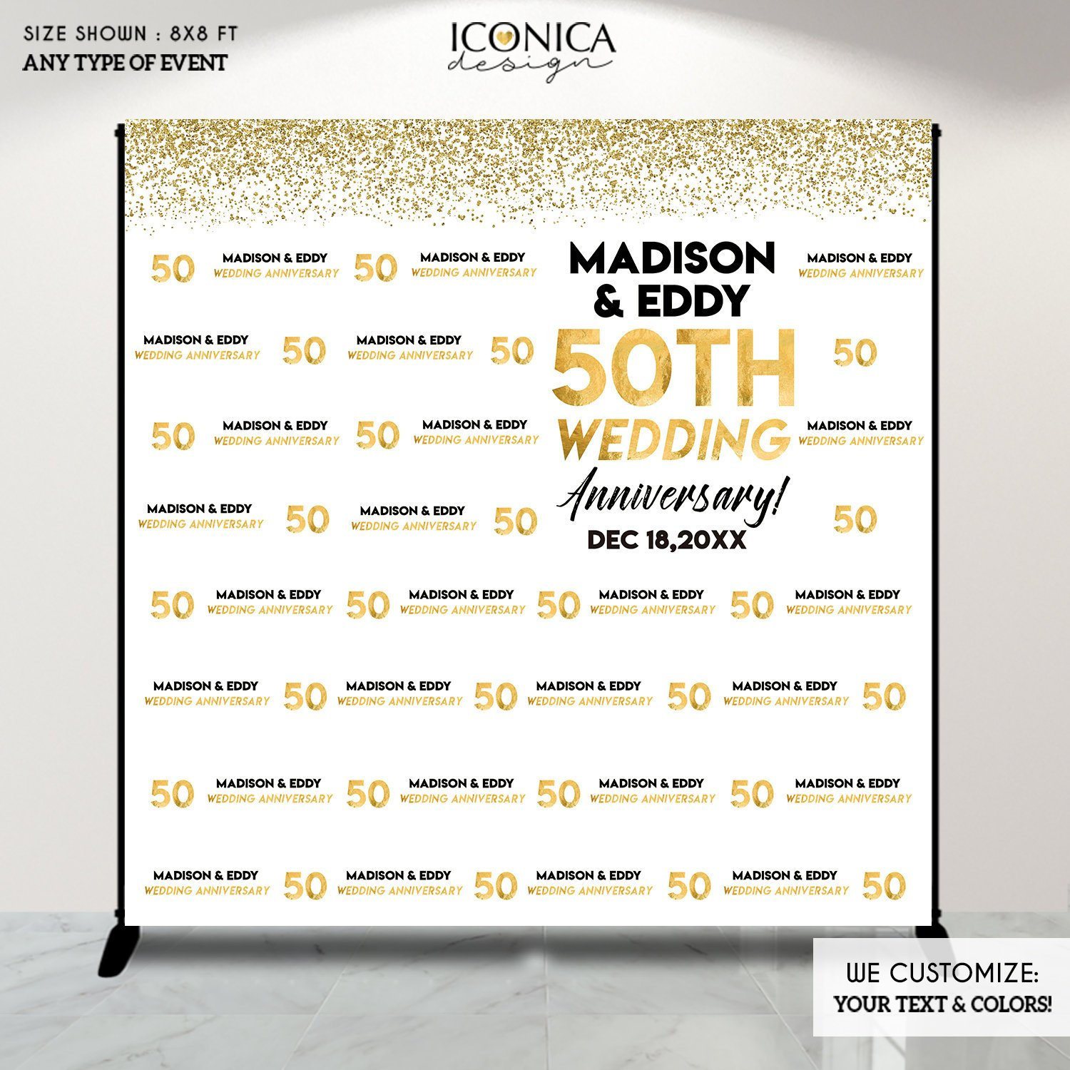 50th Wedding Anniversary Photo Backdrop, 50th Anniversary Party ...