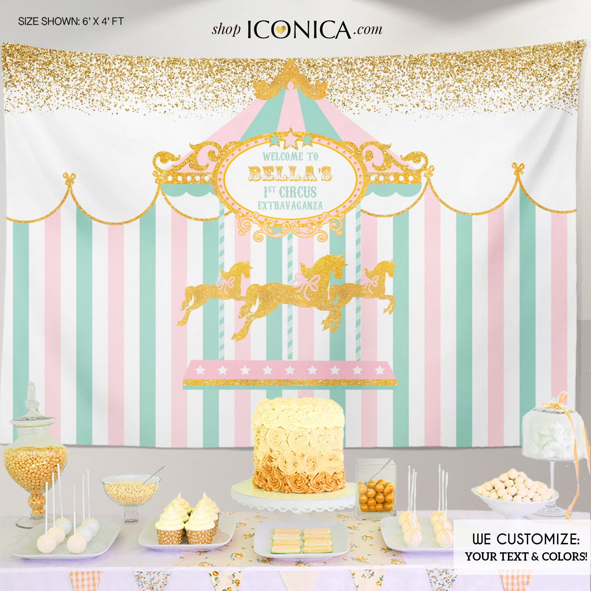Carousel First Birthday Backdrop,Girls Circus Party Decor