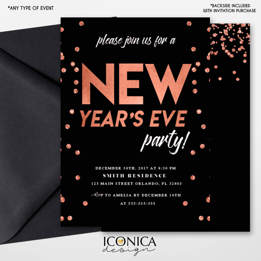 New Years Eve Party InvitationsBlack And Rose Gold InvitesNYE PARTYNew YearPrinted Or Printable File Free Shipping ISE0042