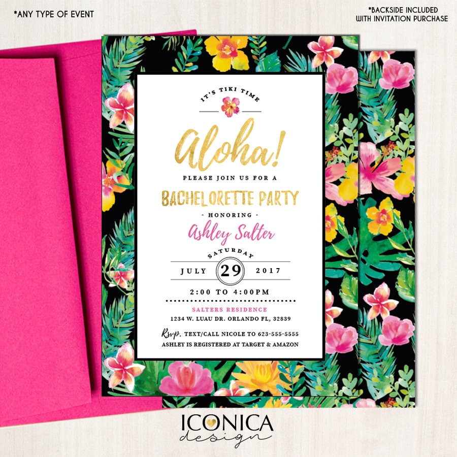 Luau bachelorette party invitation pool party hawaiian party tiki luau bachelorette party invitation pool party hawaiian party tiki bridal shower invitation pineapple tropical invites free shipping ibr0002 filmwisefo