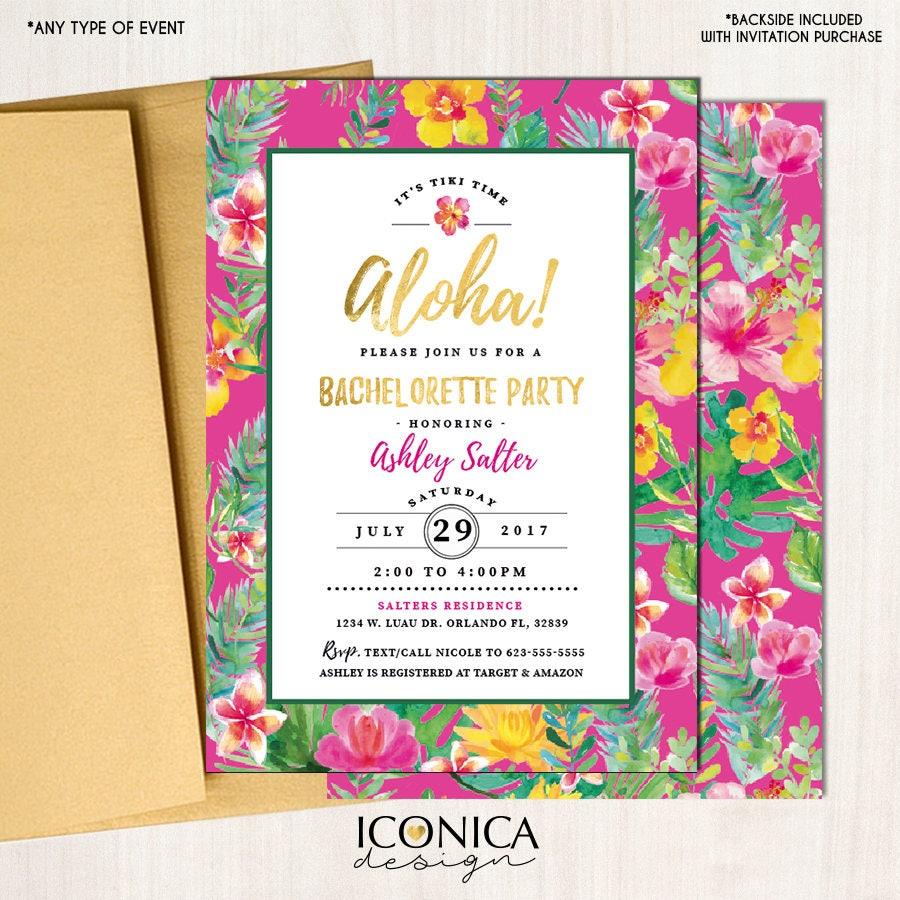 Luau Bachelorette Party Invitation Tropical Pool Hawaiian Party Tiki