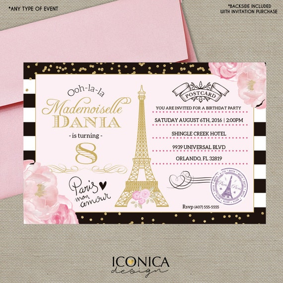 French Postcard Birthday Invitation BLACK WHITE Stripes Paris Party Gold Glitter Floral Invite Printed Or Printable Free Shipping IBD0022