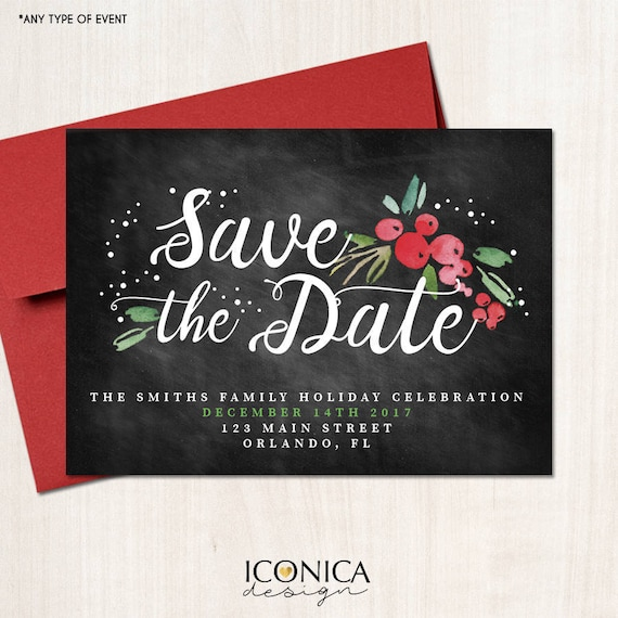 Christmas Save The Date.Save The Date Christmas Cards Holiday Save The Date Cards Chalkboard Holiday Invites Printed Or Printable File Free Shipping Ise0046