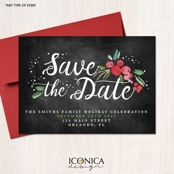 Christmas Party Save The Date Cards.Save The Date Christmas Cards Holiday Save The Date Cards Chalkboard Holiday Invites Printed Or Printable File Free Shipping Ise0046