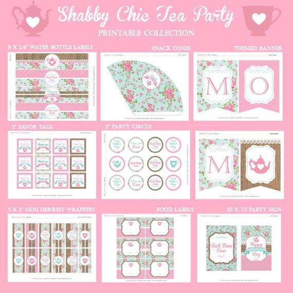 graphic regarding Tea Party Printable identified as Moms Working day Finish Celebration Range - Shabby Stylish Tea Occasion