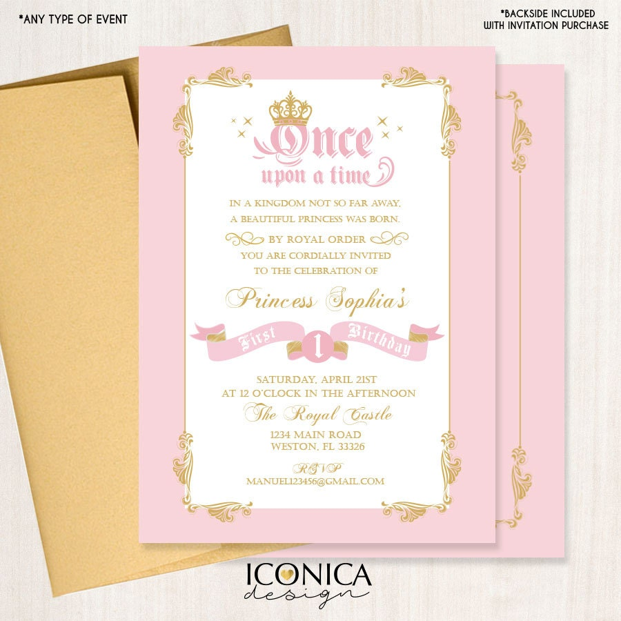 Princess First Birthday Party Invitation,Royal Princess Invitation ...