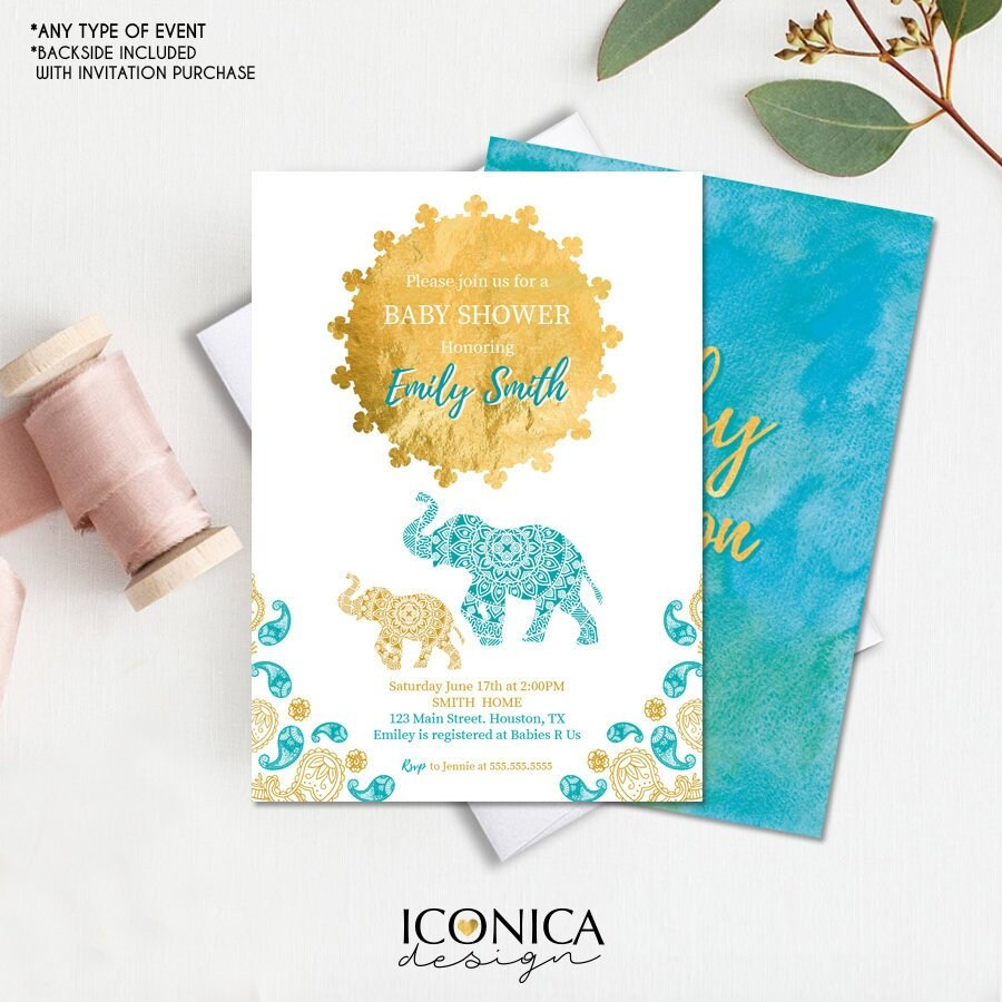 Moroccan Baby Shower Invitation, Watercolor Gold Sunset, Elephant ...