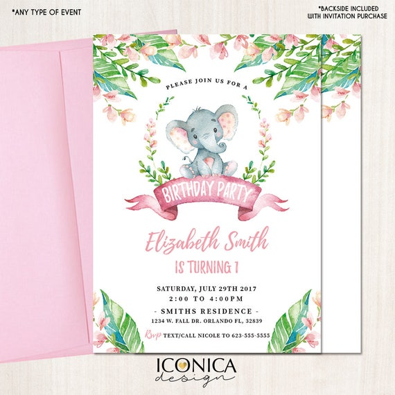 Elephant First Birthday Invitations Any Age Party Animals Jungle Printed Or Printable File Free Shipping