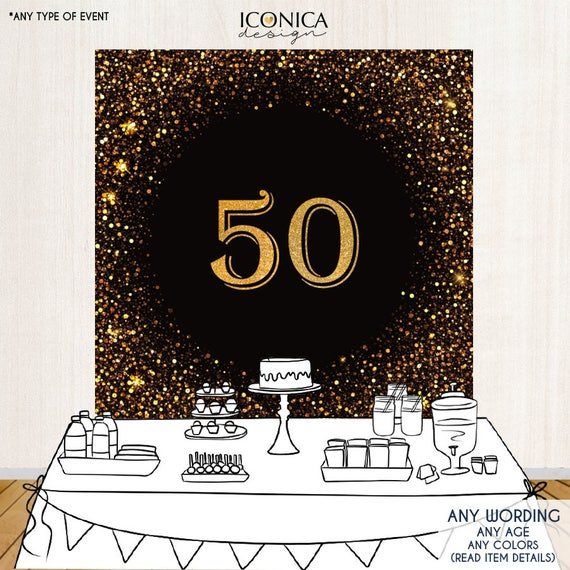 50 birthday photo booth backdrop 50th birthday party backdrop gold and black decor