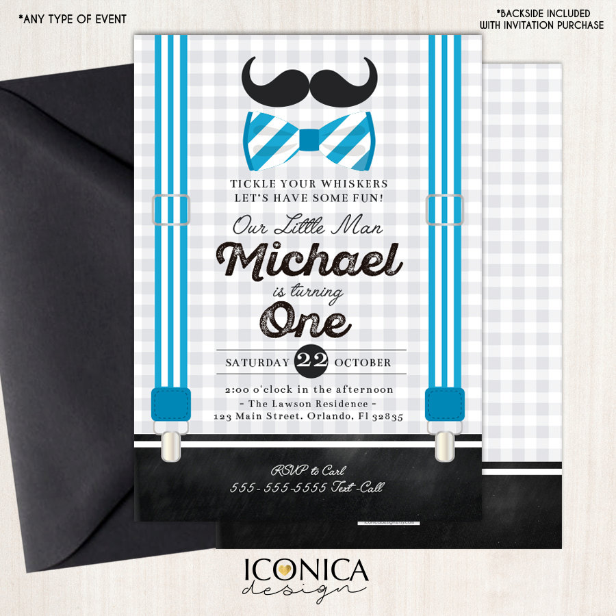Little Man First Birthday Invitation Mustache Birthday Bowtie Party ...