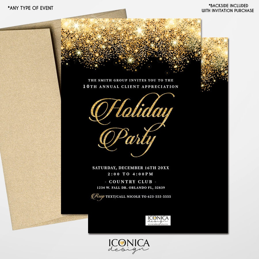 holiday party invitations new year eve cardsblack and gold sparkles invites printed or printable file free shipping ise0041
