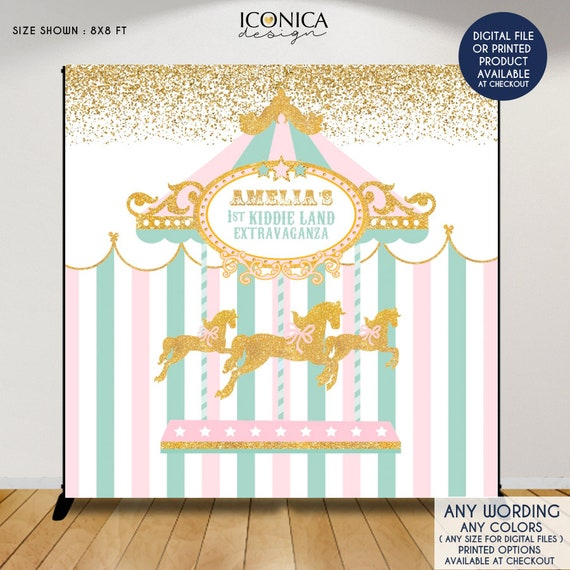 Carousel First Birthday Backdrop, Any Age, Carousel Party