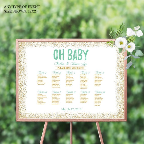 Baby Shower Seating: BABY SHOWER Seating Chart Board Oh Baby Gold And Mint