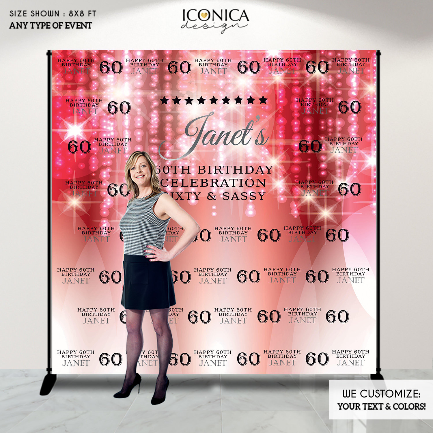 Photo Booth Backdrop 60th Birthday Step And Repeat Backdrop Red