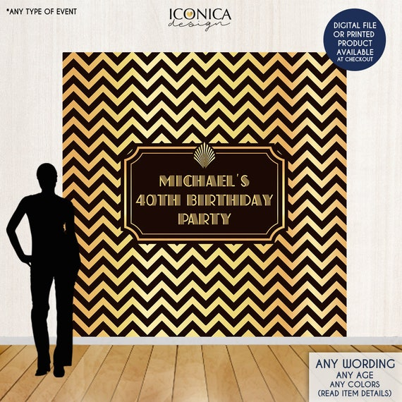 Black And Gold Chevron Photo Booth Backdrop, 40th Birthday