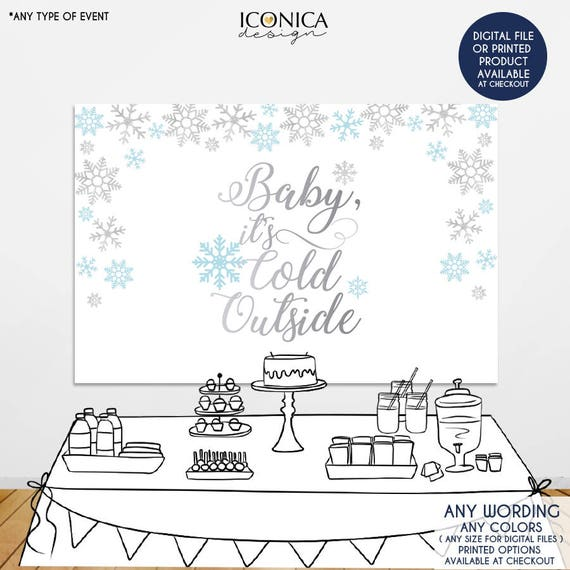 Baby it's cold outside Backdrop, Light Blue and Silver Snowflakes
