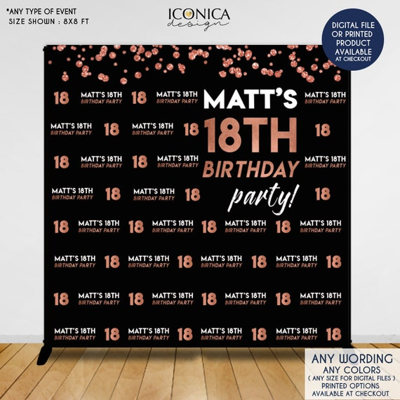 Birthday Party Decor 18th Photo Booth Backdrop Black