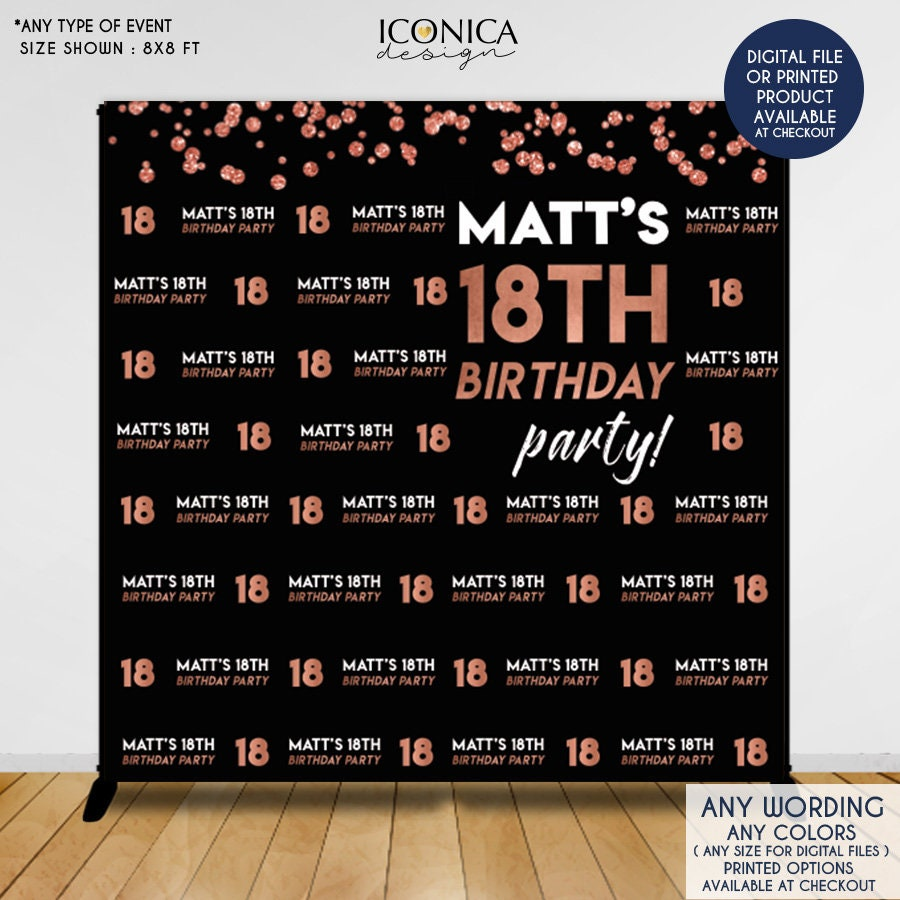 Birthday party decor 18th birthday photo booth backdrop black and faux gold rose backdrop any age printed or printable file bho0027