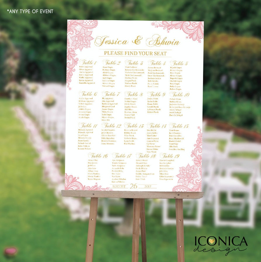 wedding seating chart board elegant pink gold lace wedding guest