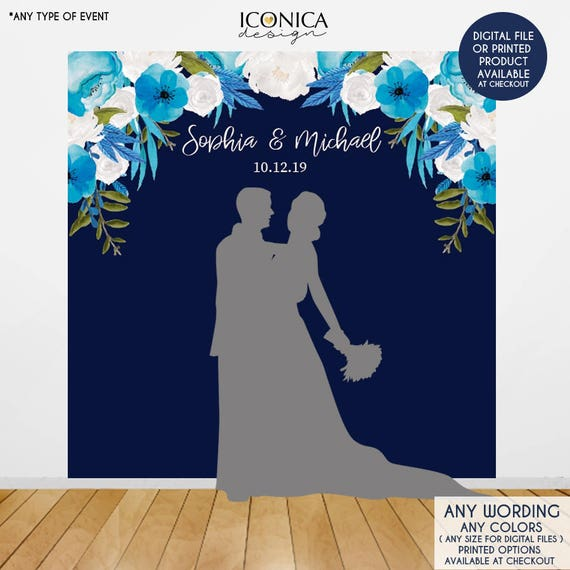 Wedding Backdrop Wedding Photo Booth Backdrop Floral Blue Photo