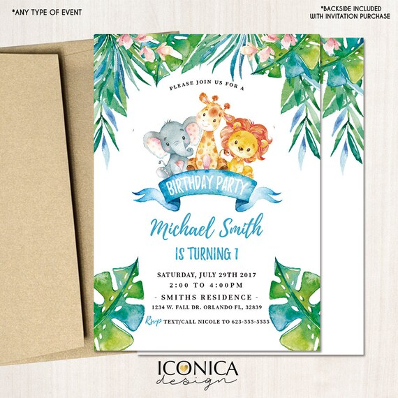 Safari First Birthday Invitations Any Age Party Animals Jungle Printed Or Printable File Free Shipping IBD0051