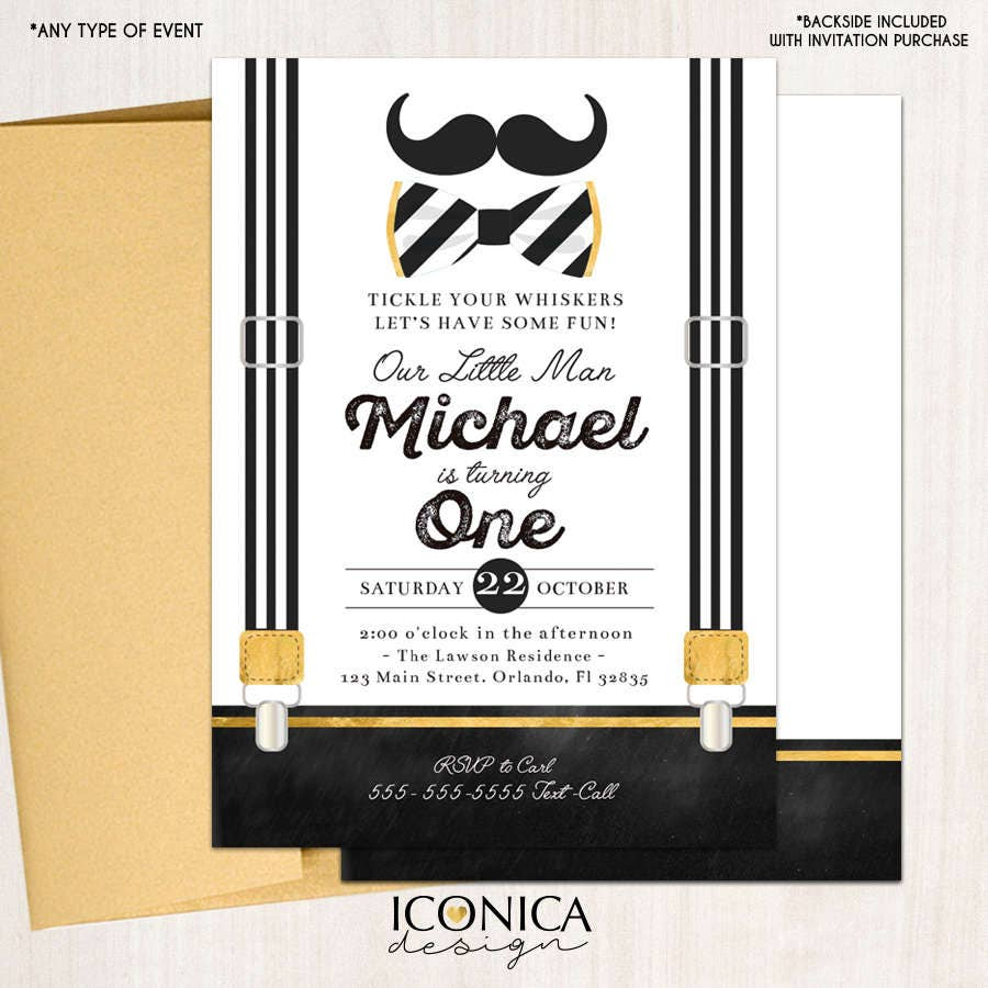 Little Man First Birthday Invitation Mustache Black and White ...