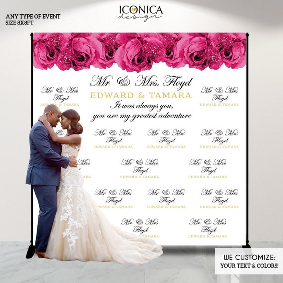 Wedding Photo Backdrop Hot Pink Roses Elegant Wedding Banner Floral Wedding Decor Floral Photo Backdrop Printed Or Printable File Bbs0050 By Iconica Design Catch My Party