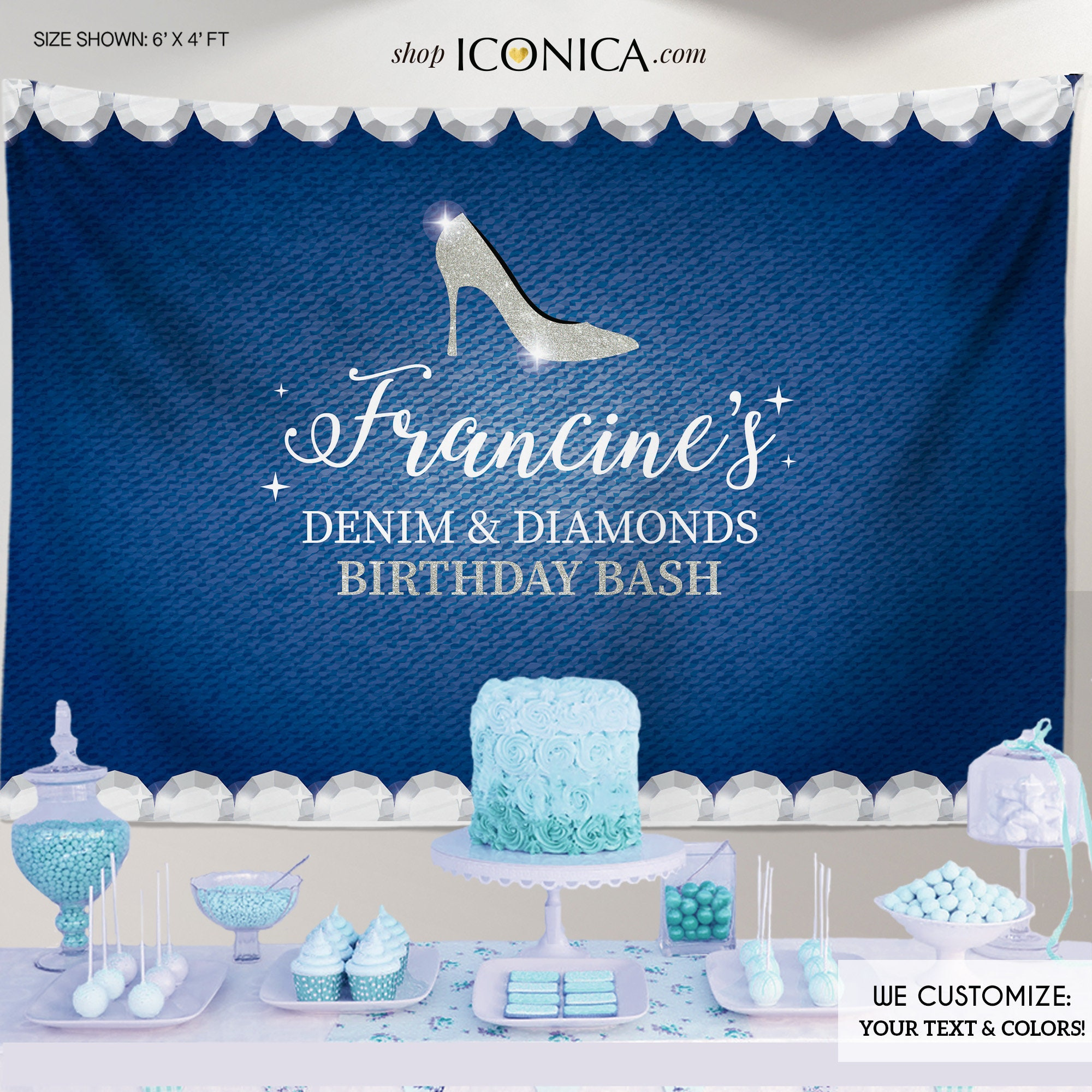 Denim And Diamonds Birthday Party Backdrop Denim Party Banner Any Event Gold Silver Printed Or Printable