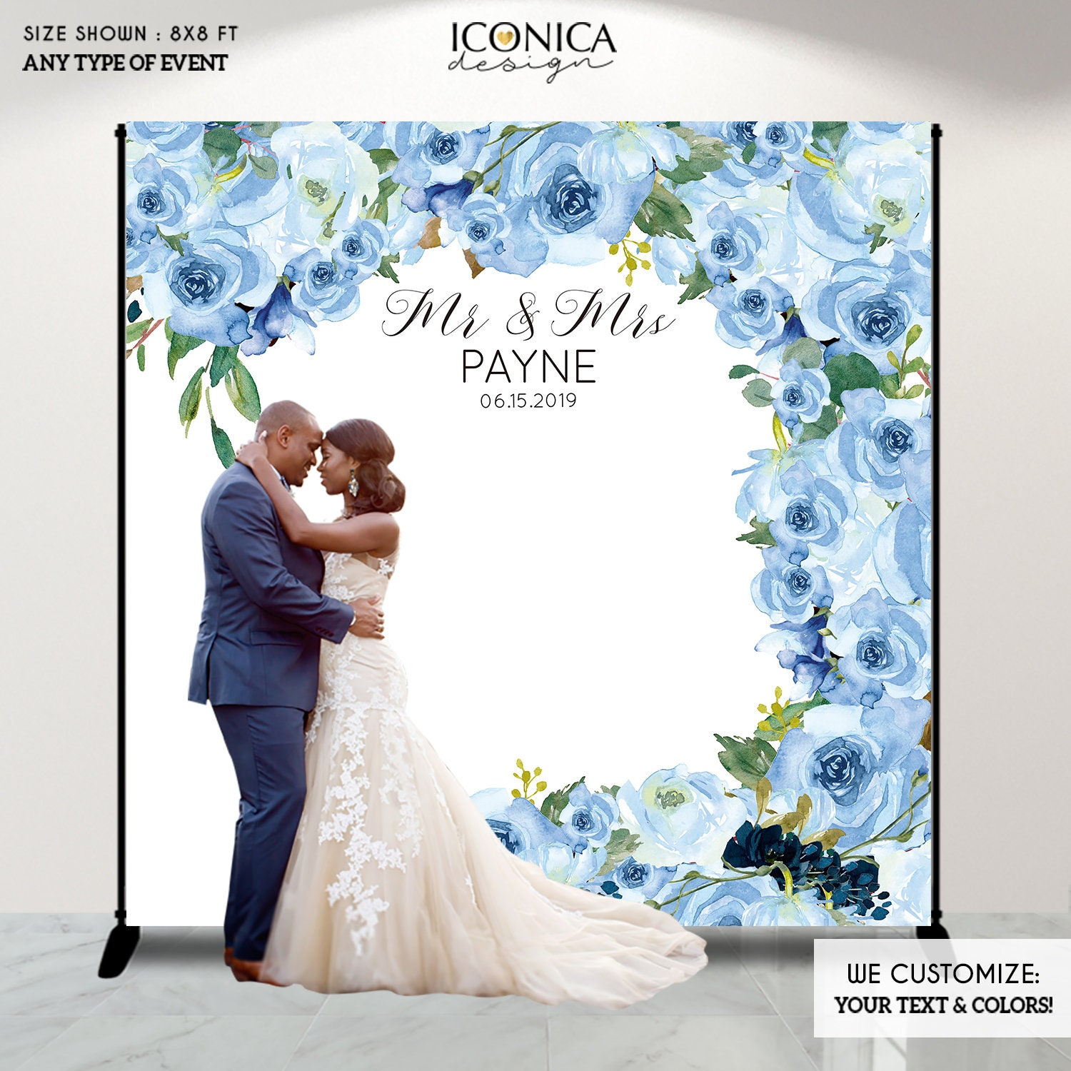 Wedding Photo Backdrop Decor Fabric Backdrop Personalized Photo Backdrop Engagement Party Banner Floral Blue Watercolor Backdrop Bwd0049