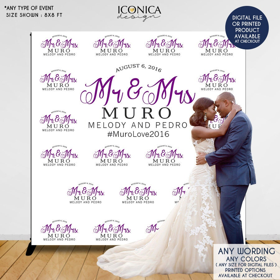 Wedding Photo Booth Backdrop Custom Step And Repeat Engagement Party Red Carpet Banner Printed Or Printable File Bwd0004