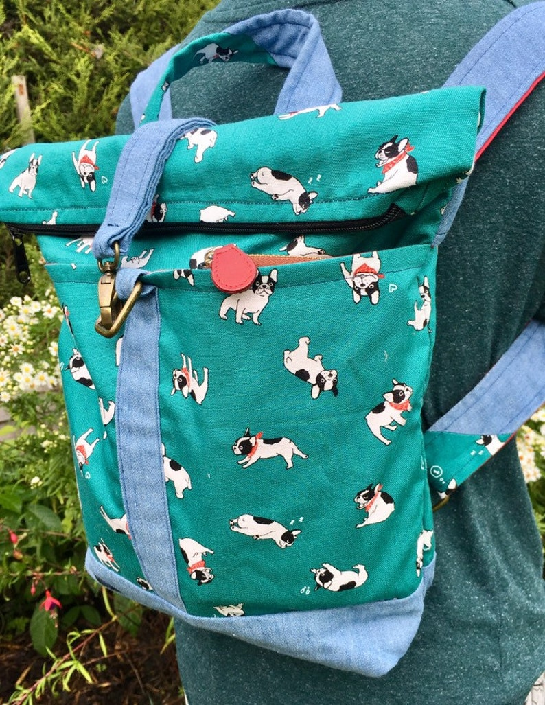 French bulldog roll top rucksack/presents for her/uk delivery image 0