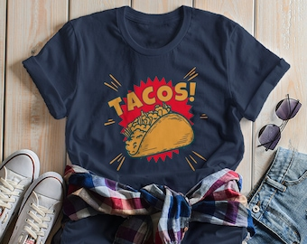 e019933d5 Women's Funny Tacos T Shirt Foodie Graphic Tee Taco Shell Comic Shirts Taco  Night Tshirt