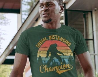 Men's Social Distancing T Shirt Bigfoot Shirt Social Distancing Champion Shirt Hipster Shirt Funny Bigfoot Shirt