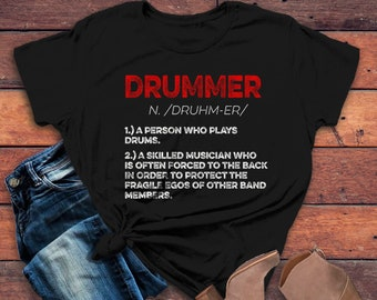 117a58be Women's Funny Drummer Shirt Drummer Definition Tshirt Drummer Gift Idea  Band Shirts Drummer T Shirt