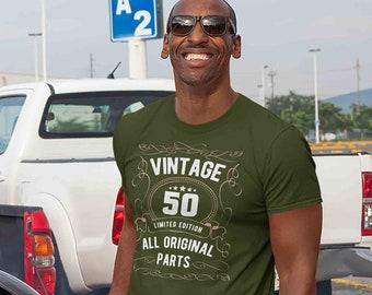 Men's 50th Birthday Shirt Limited Edition T Shirts Fiftieth Birthday Shirts Shirt Vintage Original Parts Fifty Birthday Gift Unisex