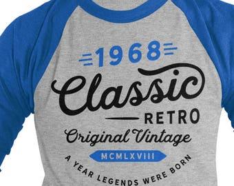 13e9a23b Shirts By Sarah Men's Classic Retro Original Vintage 1968 50th Birthday  Raglan Retro 3/4 Sleeve Shirts
