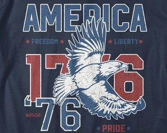 Men's America T-Shirt Patriotic Vintage 1776 Eagle Pride Freedom Liberty 4th July Shirts
