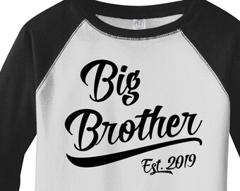 40b879d3 Boy's Big Brother EST. 2019 T-Shirt Promoted to Shirt Baby Reveal  Announcement Idea 3/4 Raglan Toddler