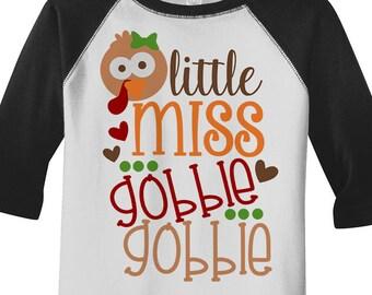 Shirts By Sarah Little Girl's Little Miss Gobble Gobble Thanksgiving Toddler Raglan Cute Turkey Adorable