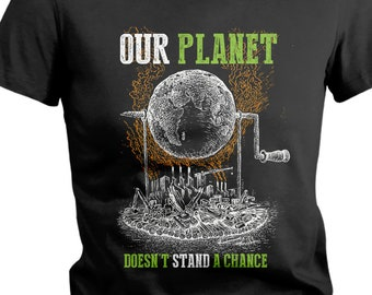 Women's Earth Day T-Shirt Dying Planet Industrial Pollution Shirts Save Tee Shirt