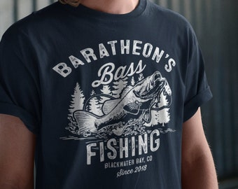 ef6f0301 Men's Personalized Fishing T-Shirt Fisherman Bass Fishing Shirt Vintage Shirt  Tee Shirt Men's Gift Custom Shirts