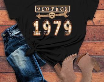 cfe2f3389 Women's Vintage T Shirt 1979 Birthday Shirt 40th Birthday Tee Light Bulb  Marquee Sign Retro Gift Idea Vintage Tee